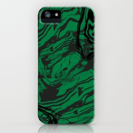 Suminagashi marble malachite green marbled pattern spilled ink abstract art iPhone Case