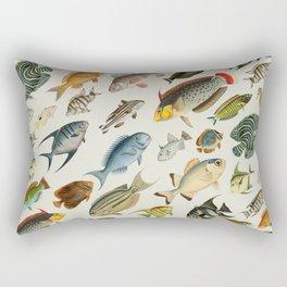 vintage fish swim on bone Rectangular Pillow