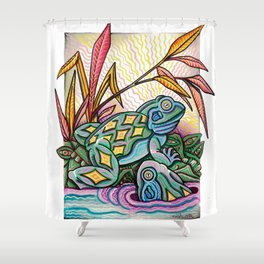 Two Frogs Shower Curtain