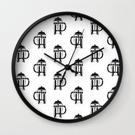 French Press linocut black and white pattern coffee art kitchen pattern art Wall Clock