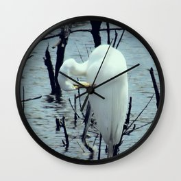 Great Egret in Water A108 Wall Clock