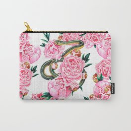 Garter Snake and Peonies Carry-All Pouch