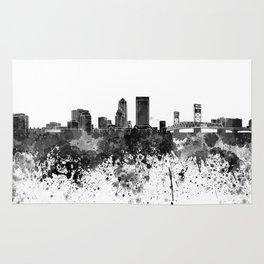 Jacksonville skyline in black watercolor Rug