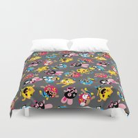 wrestling Duvet Covers featuring Wrestling Academy pattern by TokyoCandies