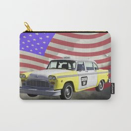 Yellow and White Checkered Taxi Cab And US Flag Carry-All Pouch