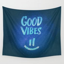 Good Vibes - Funny Smiley Statement / Happy Face (Blue Stars Edit) Wall Tapestry