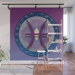 PISCES Flower of Life  Astrology Design Wall Mural