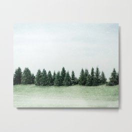 Pine Line Snow Metal Print