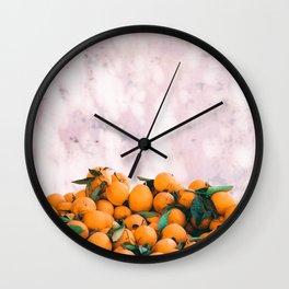 Orange & Pale Pink Wall Clock