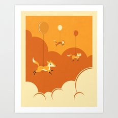 FLOCK OF FOXES Art Print