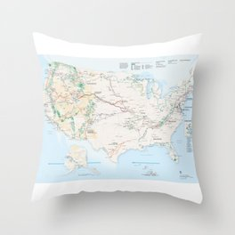 National Parks Trail Map Throw Pillow