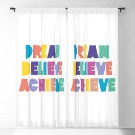 Dream Believe Achieve Colorful Fun Positive Typography Blackout Curtain