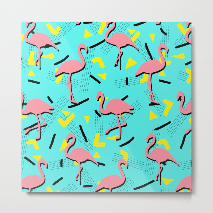 Flamingos Memphis #society6 #decor #buyart Metal Print