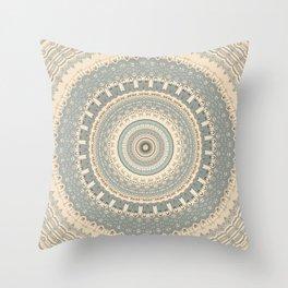 Delicate Sea-foam  Mandala Throw Pillow
