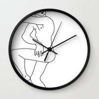 naked Wall Clocks featuring naked by Michael Interrante