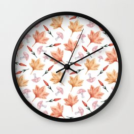 Watercolor background with maple leaves, mushrooms, red flowers Wall Clock