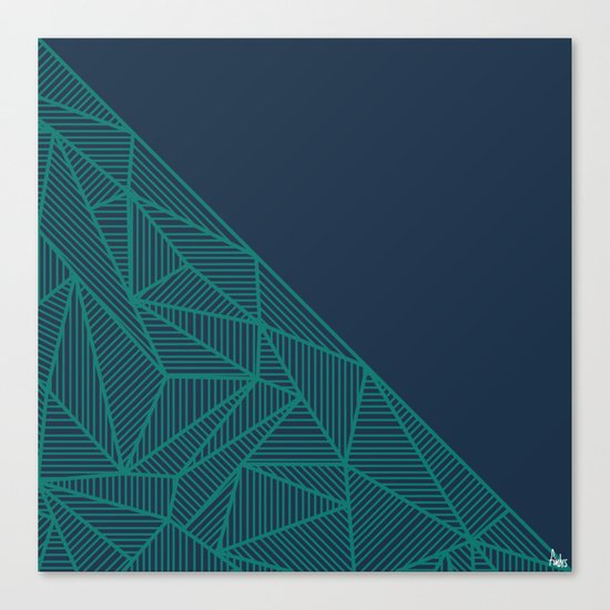 B Rays Geo Pine Blue Canvas Print