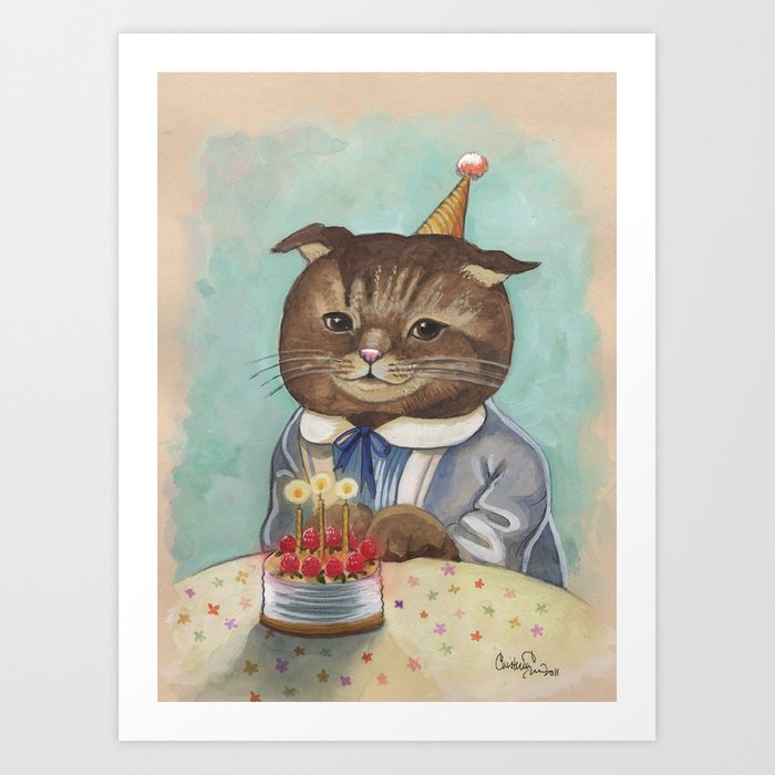 Happy Birthday Kitty Art Print