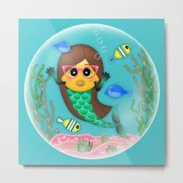 Mermaid Emoji in Bubble Metal Print