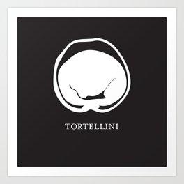 Pasta Series: Tortellini, Black Art Print