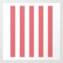 Candy pink - solid color - white vertical lines pattern Art Print