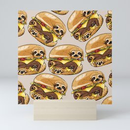 Sloths Burger Mini Art Print