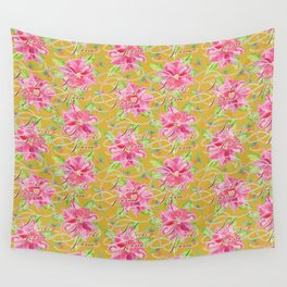 'Tis the Season for Poinsettias and Mistletoes in Gold Background Wall Tapestry
