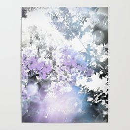 Watercolor Floral Lavender Teal Gray Poster