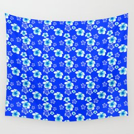 Blue Floral And Turtles Hawaiian Pattern Wall Tapestry