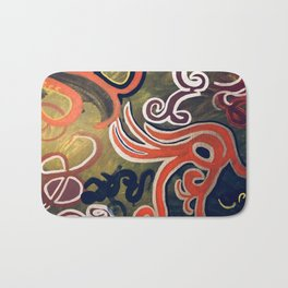 Green and Red Abstract Painting Bath Mat