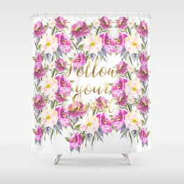 Pink Roses Floral Shower Curtain