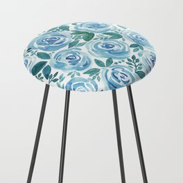 Pale blue roses . Watercolor . Counter Stool