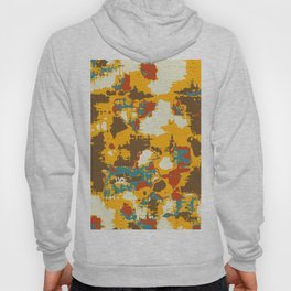 psychedelic geometric painting texture abstract in yellow brown red blue Hoody