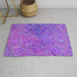 Purple Feather Magic Mandala Rug