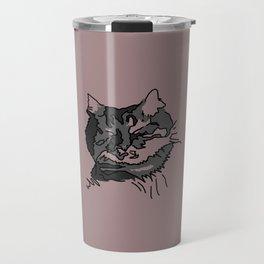 Pink Sleeping Cat Travel Mug