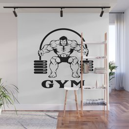 Bodybuilder with barbell Wall Mural