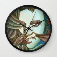 elvis presley Wall Clocks featuring Elvis Presley by Victor Molev