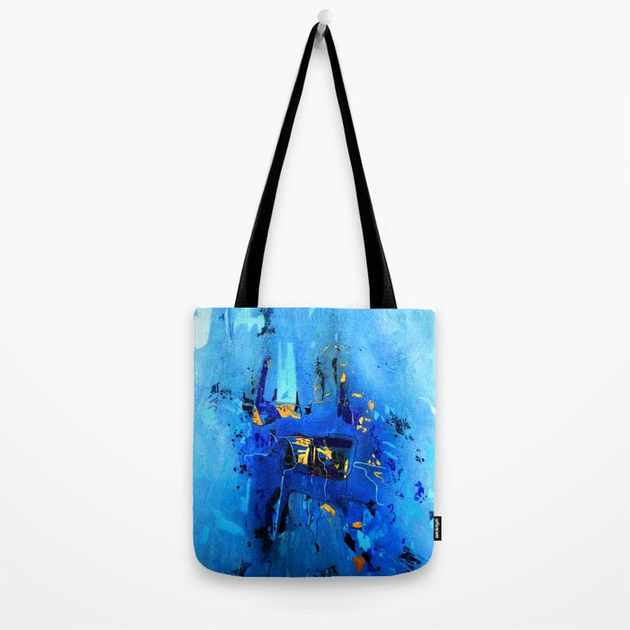 Blue, Black and White Tote Bag