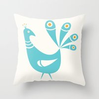 mid century Throw Pillows featuring Mid Century Peacock by Amy Newhouse