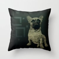 frenchie Throw Pillows featuring Frenchie by Mi Nu Ra