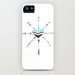 Which Way Love Compass Arrow Heart iPhone Case