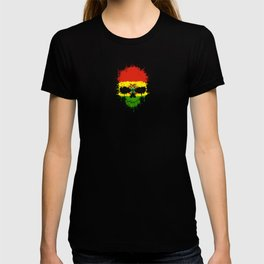 Flag of Bolivia on a Chaotic Splatter Skull T-shirt