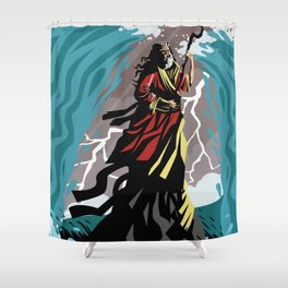 exodus moses with staff in the sea Shower Curtain