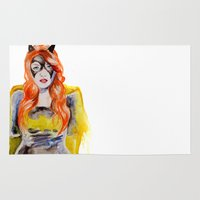 batgirl Area & Throw Rugs featuring BATGIRL by Clementine Petrova