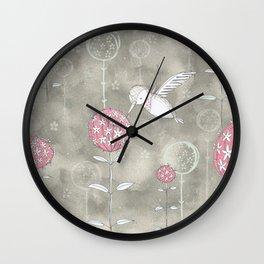 Hummingbird's Garden: Amongst the wild flowers Wall Clock