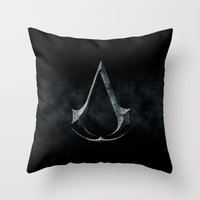 assassins creed Throw Pillows featuring Assassins Creed Dark Stone  by alifart