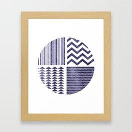 Navy Tribal Print Framed Art Print