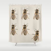 bees Shower Curtains featuring Bees  by Cécile Pellerin