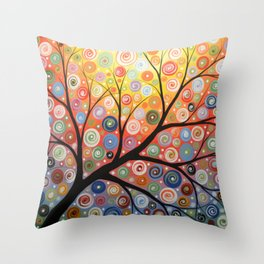Abstract Art Landscape Original Painting ... Reaching For the Light Throw Pillow