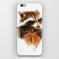 rocket raccoon iPhone & iPod Skins featuring Rocket by cos-tam